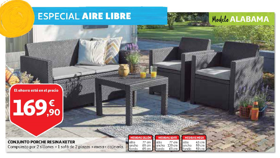 Muebles de exterior carrefour cool cat logo online de for Muebles jardin alcampo online